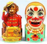 288 Two J Chein Tin Lithograph Banks Clown and Monke
