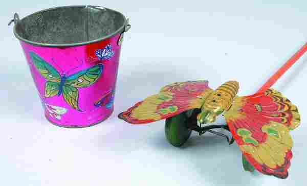 294: J. Chein Tin Lithograph Child's Pail with Butterfl