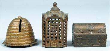 335: Three Cast Iron Still Banks; Beehive by Kyser and