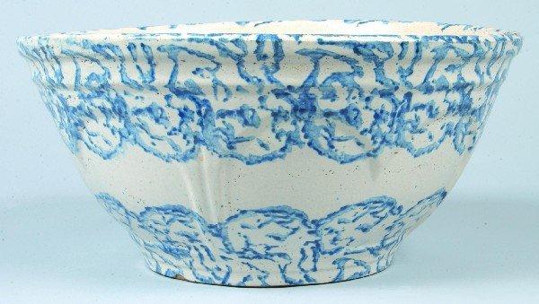 359: Blue Sponge Decorated Salt Glazed Stoneware Potter