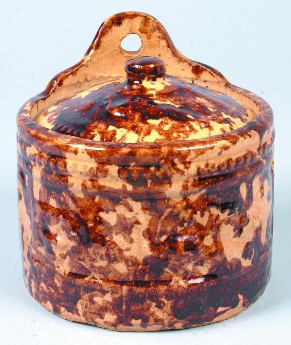 360: Rockingham Glazed Yellowware Hanging Salt Box with