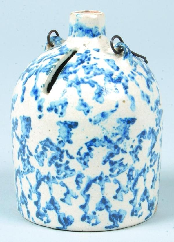361: Rare Blue Sponge Decorated Salt Glazed Stoneware P