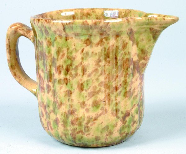362: Green and Brown Mottled Glaze Yellowware Fluted Si