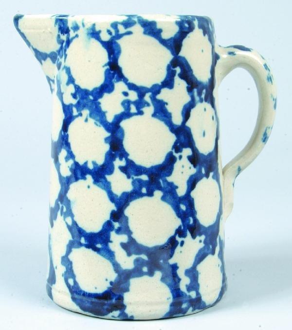 365: Bold Blue Sponge Smoke-ring Decorated Salt-glazed
