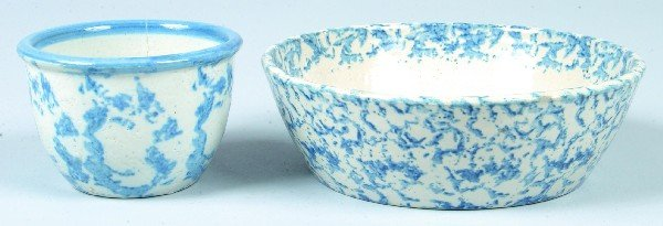370: Two Pieces of Blue Sponge Decorated Salt  Glazed S