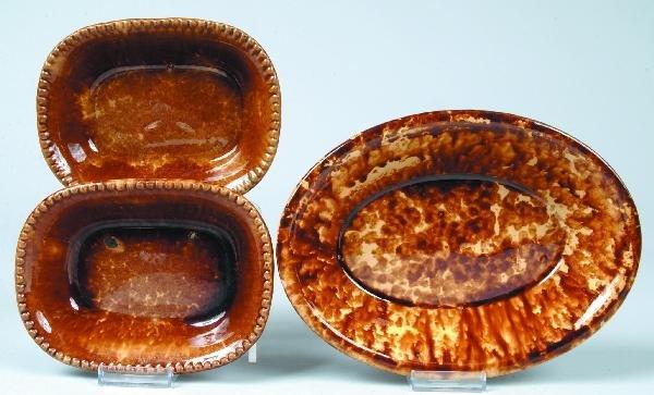 374: Three Rockingham Glazed Yellowware Bowls; two rect