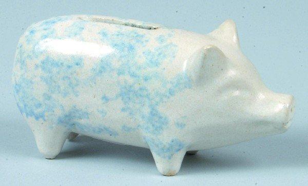 375: Blue Sponge Decorated Salt Glazed Stoneware Potter