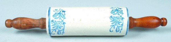 377: Blue Stencil Decorated Salt glazed Stoneware Potte