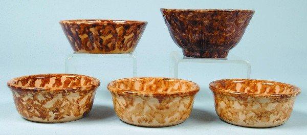 378: Five Rockingham Glazed Yellowware Bowls; three Cus