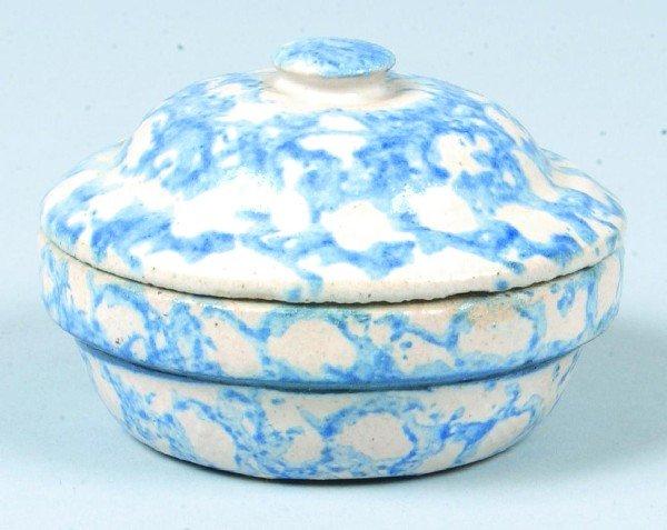379: Rare Blue Sponge Decorated Salt Glazed Stoneware P