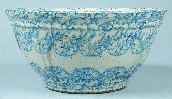 381: Blue Sponge Decorated Salt glazed Stoneware Potter