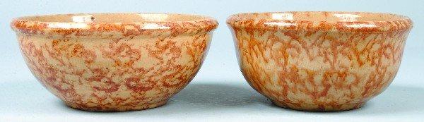382: Two Rockingham Glazed Yellowware Pottery Mixing Bo