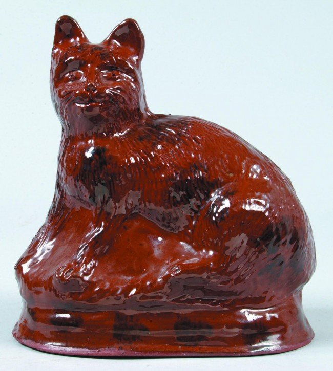 1: Foltz 1982 Redware Pottery Seated Cat Figure on Base