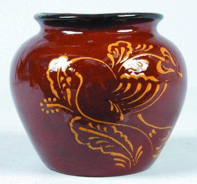 4: Ned Foltz 2009 Redware Pottery Bird on Floral Branch