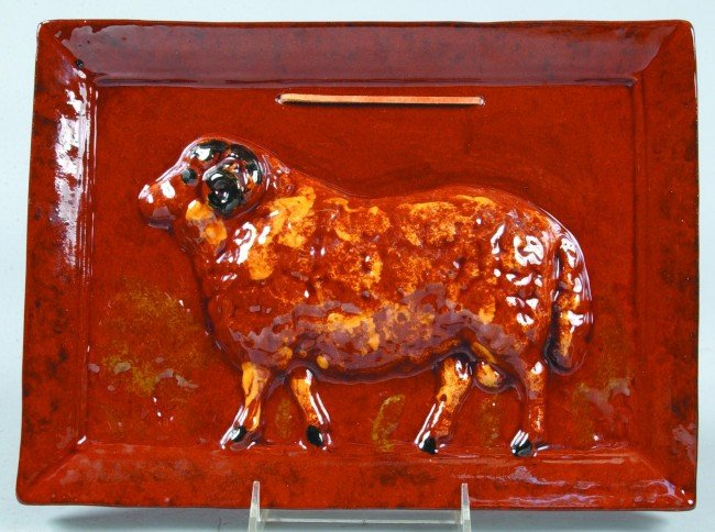 10: L. Breininger Redware Pottery Embossed Sheep Wall P