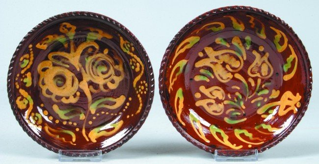 11: Two C.N. Foltz 1975 Redware Pottery Floral Slip Dec
