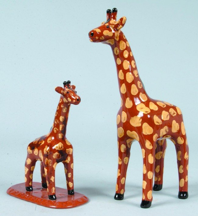 13: Two Redware Pottery Giraffe Figures, polychrome pai