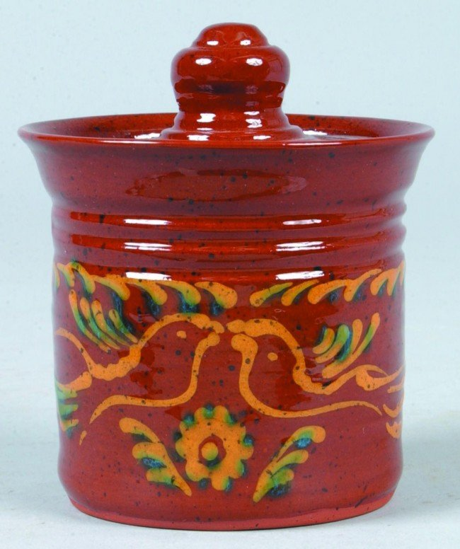 18: Ned Foltz 2005 Redware Pottery Bird and Floral Slip