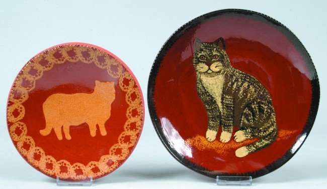 19: Two Various C.N. Foltz Redware Pottery Cat Decorate