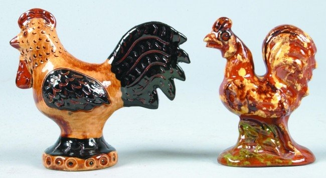 21: Two Breininger Redware Pottery Roosters Figures, fi