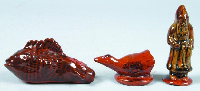 24: Three Redware Pottery figures, Ned Foltz Fish form