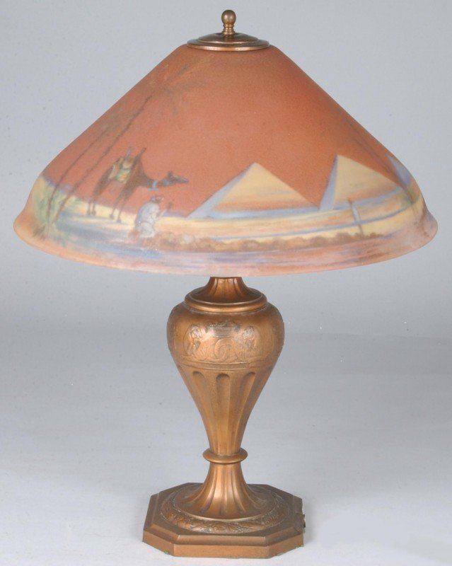 230: Pairpoint Table Lamp with Reverse Painted Egyptian