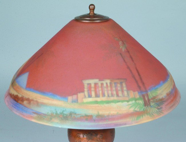 230: Pairpoint Table Lamp with Reverse Painted Egyptian - 2