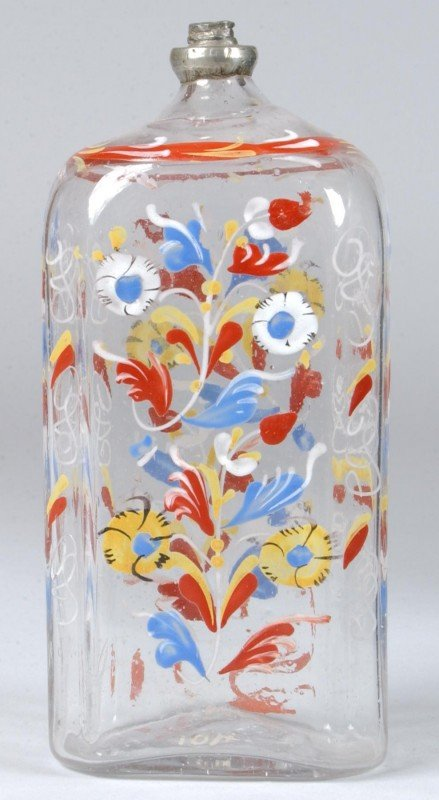 813: Stiegel Type Blown Colorless Glass Cologne Bottle