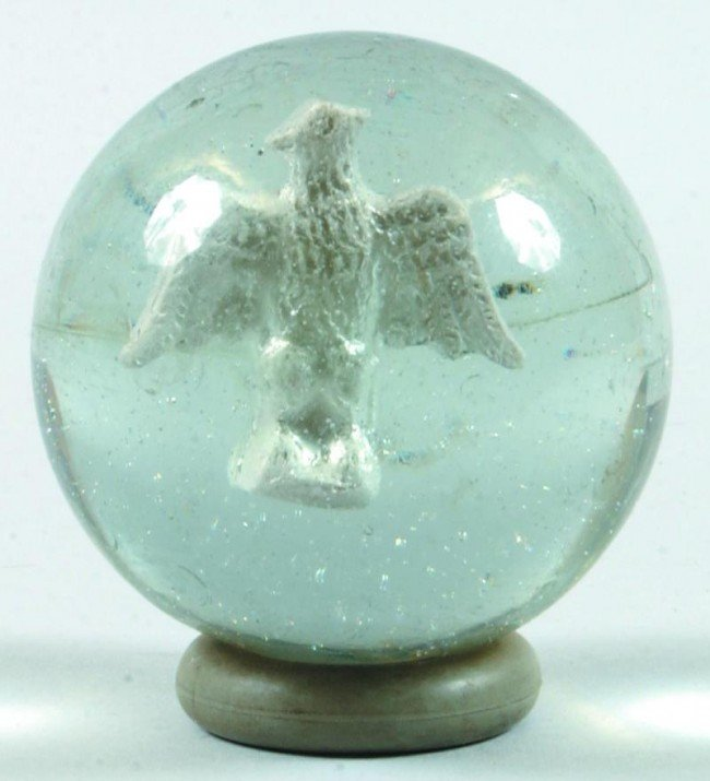 """13: Spread Wing Eagle Sulphide Marble. 2 1/4"""" diam. Con"""
