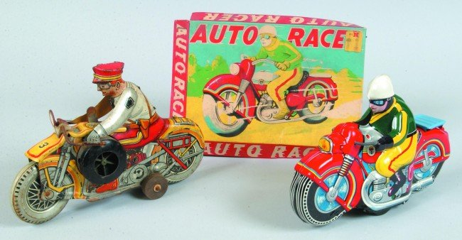 14: Two Tin Lithograph Motorcycle Friction Toys; Marx M