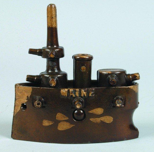 19: Grey Iron Battleship Maine Cast Iron Still Bank, ci
