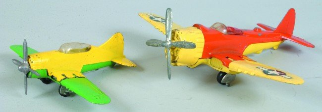 21: Two Hubley Die Cast Airplanes with folding wings an