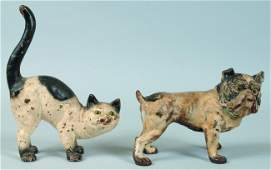 91 Two Hubley Cast Iron Doorstops Standing Cat with o