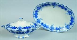 336: Flow Blue transferIronstone China Clarence Pattern