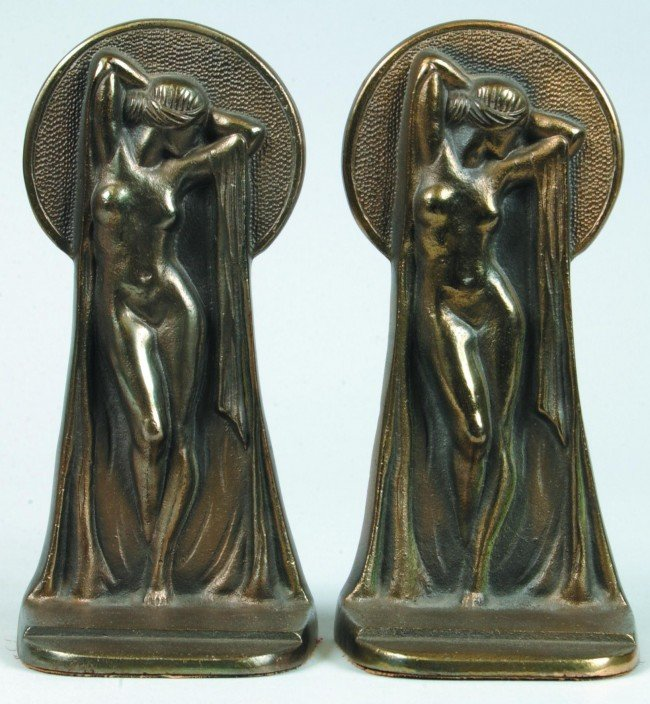 458: Pair of Art Deco Female Nude Figural Key Hole View
