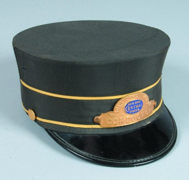 """215: New York Central Conductor Hat, size 7-1/8"""" hat wi"""