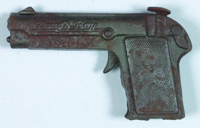 363: Dough Boy Cap Pistol, cast iron automatic replica,