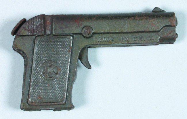 363: Dough Boy Cap Pistol, cast iron automatic replica, - 2