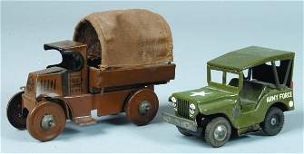 626 Two Various tin US Army Vehicles Marx US Arm