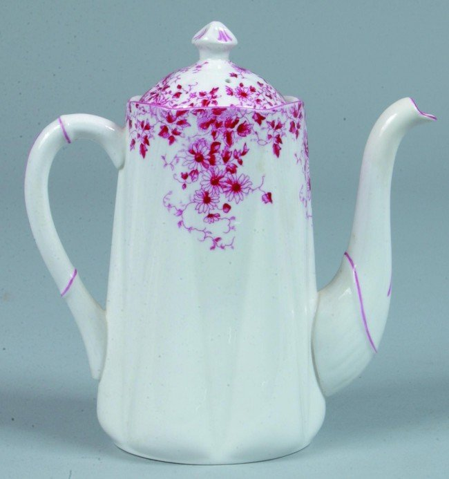 """4: Shelley China Dainty Pink Teapot, 6-1/4"""" h., (repair"""