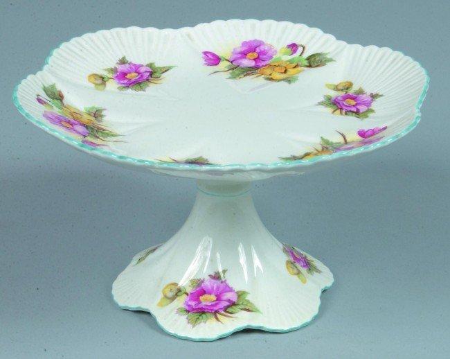 "8: Shelley China Begonia pattern Cake STand, 5"" h. x 9"""