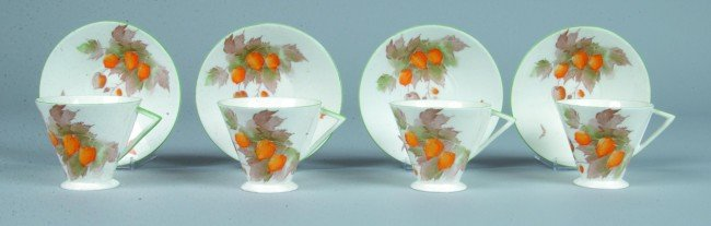 10: Set of Four Shelley China Cape Gooseberry pattern C