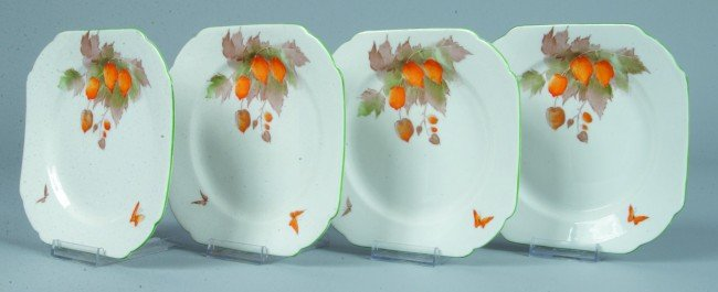 11: Four Shelley China Cape Gooseberry pattern Small Sq