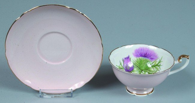 12: Shelley China Thistle pattern Cup and Saucer, 2-3/8