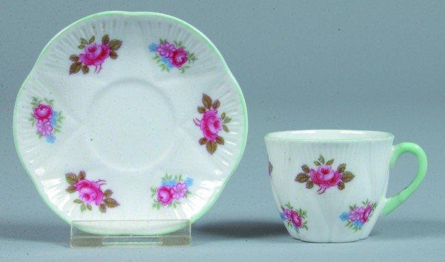 14: Shelley China Rosebud pattern Miniature Cup and Sau