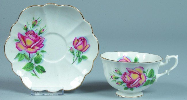 """15: Shelley China Rose pattern Cup and Saucer, 2-3/4"""" h"""