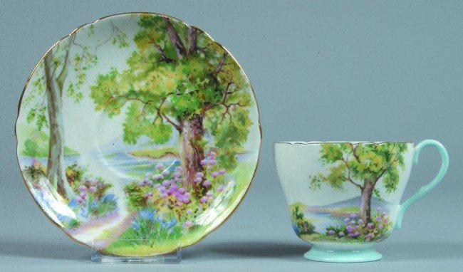 """16: Shelley China Woodland pattern Cup and Saucer, 3"""" h"""