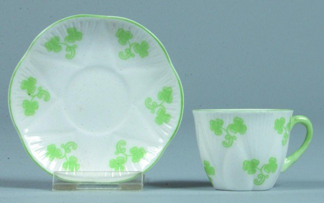 20: Shelley China Shamrock pattern Miniature Cup and Sa