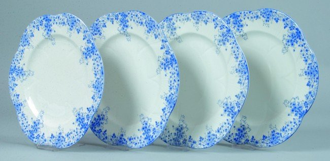 24: Four Shelley China Dainty Blue pattern Plates, 10-3
