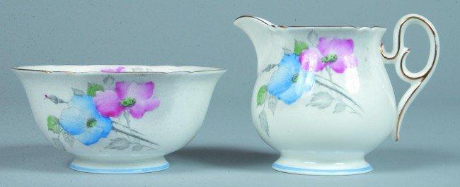 540: Shelley China Dog Rose pattern Creamer and Waste B